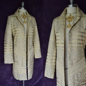 BIYA JOHNNY WAS JWLA gold embroidered duster coat